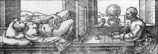 Albrecht Durer: Draughtsman Drawing a Recumbent Woman (1525)